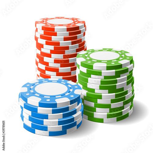 Fotografie, Obraz  Casino chips stacks