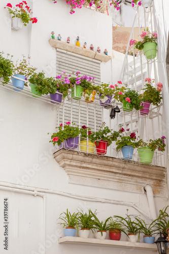 Terrazzo fiorito e vasi colorati - Buy this stock photo and explore ...