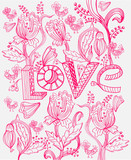 Stylish pink floral background with LOVE