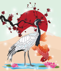 Obraz oriental picture with crane and koi