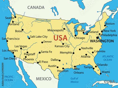 The United States of America - vector map – kaufen Sie diese ...