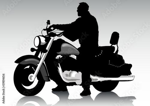 Poster Motocyclette Man on chopper