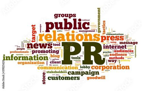 Fotografie, Tablou  Public relations concept in tag cloud