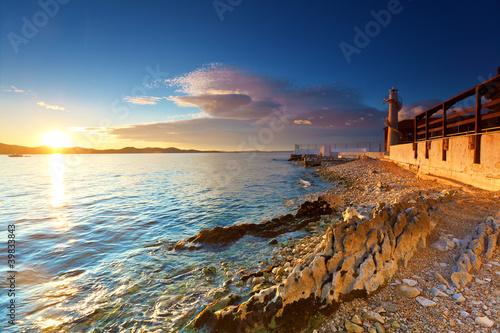 Foto-Schiebegardine Komplettsystem - lighthouse in Zadar