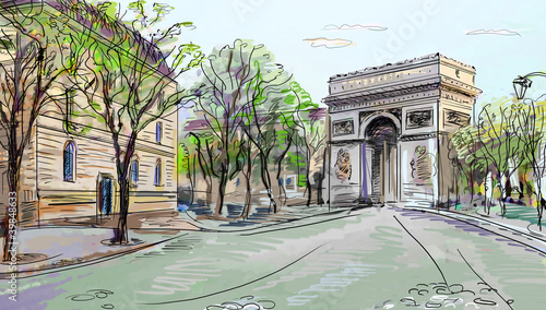 Recess Fitting Illustration Paris Street in paris - illustration