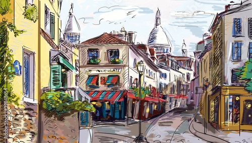 Foto op Canvas Illustratie Parijs Street in paris - illustration