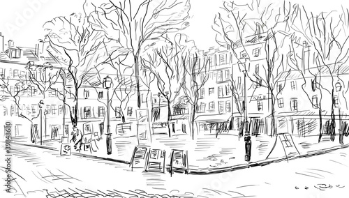 Photo sur Aluminium Illustration Paris Street in paris - illustration