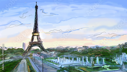 Recess Fitting Illustration Paris Eiffel Tower, Paris illustration
