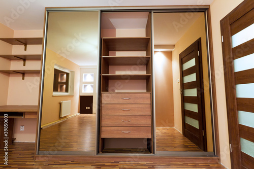 Fotografía  Modern apartment interior with huge wardrobe
