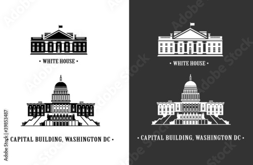 White house and Capitol building in Washington Wallpaper Mural