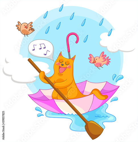 Poster Oiseaux, Abeilles cat sailing in an umbrella and singing in the rain