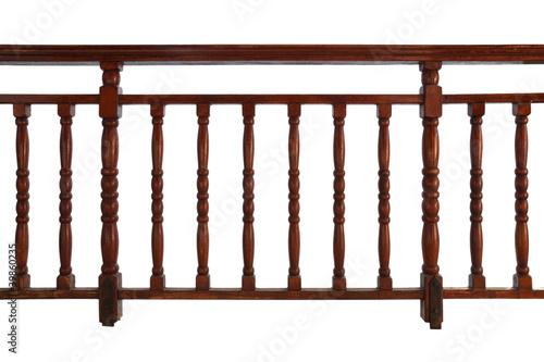 Valokuva wooden decorative railing isolated on white
