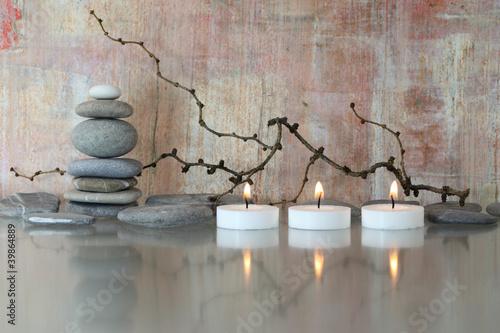 Plissee mit Motiv - Steine, Zweige, Kerzen