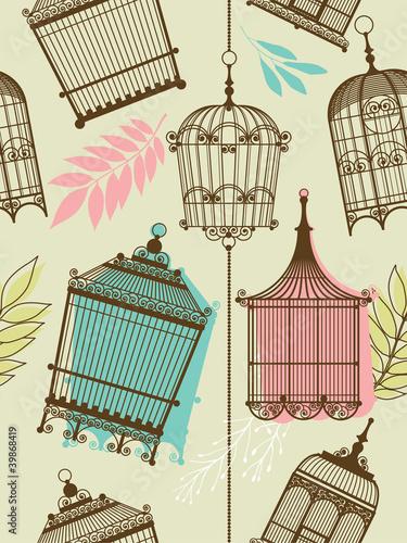 In de dag Vogels in kooien vintag pattern with birdcages