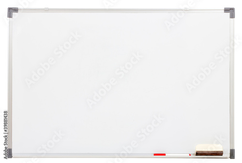 Fotografering blank white board isolated on white