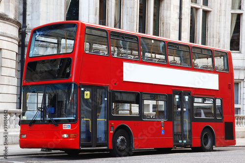 Poster Londres bus rouge London Double decker red bus
