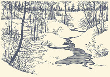 Vector Landscape. Winter Creek In The Forest