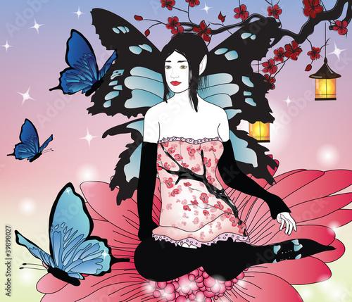 Foto op Plexiglas fairy with butterflies in an enchanted garden