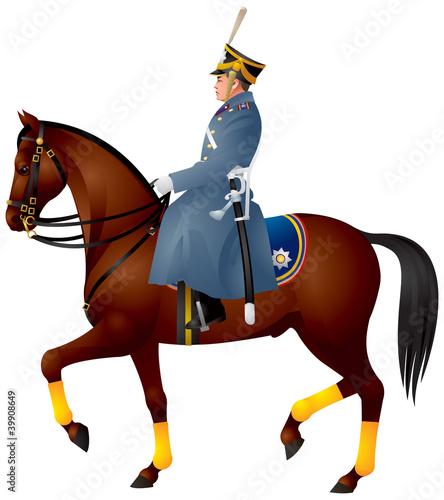 Fotografia Cavalier on a horse, Russian dragoon