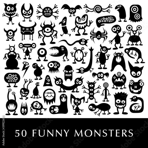 Fotografía  Huge vector set of funny cartoon aliens.