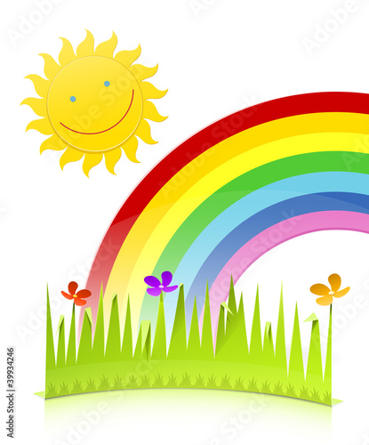 Poster Regenboog nature scene made of paper vector illustration isolated on