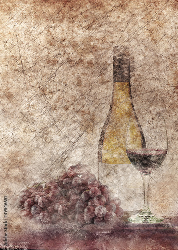 butelka-wina-i-winogron-grafika-w-stylu-grunge