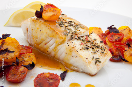 Slika na platnu Pan fried halibut
