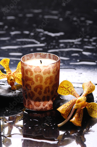 Poster Spa Spa still life with candle perfect flames and black stone