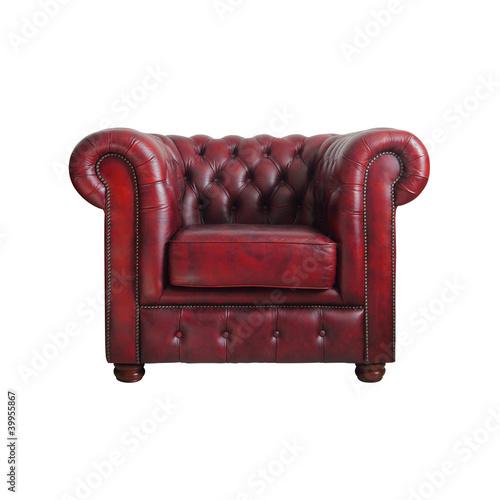 Fotografie, Obraz  Classic Red leather armchair isolated on white background with c