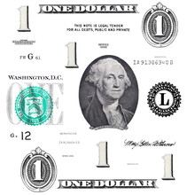Set Of Original Detail 1 $ Dollar, With Washington