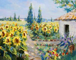 Panel Szklany Wiejski sommer landschaft malerei