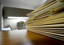 File Folders On Shelf Or Desk