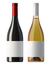 Burgundy  Shape Red And White Wine Bottles With Blank Labels