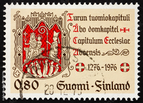 Postage stamp Finland 1976 Turku Chapter Seal Poster Mural XXL