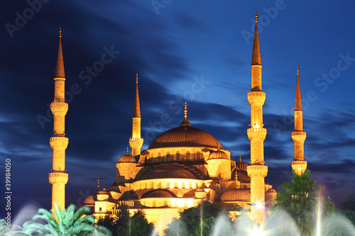 Blue Mosque at night in Istanbul Poster