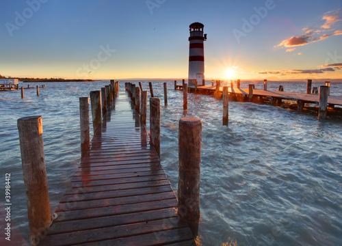 Foto-Leinwand - Lighthouse at Lake Neusiedl at sunset