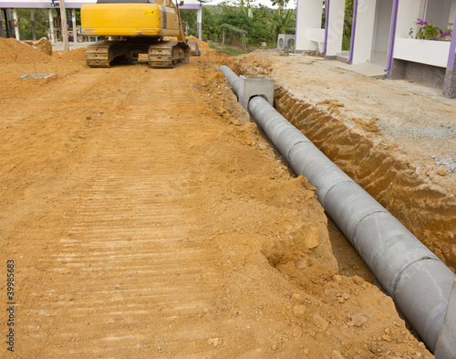 Fotografia, Obraz  Concrete drainage tank on construction site