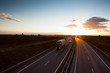 highway traffic - motion blurred truck on a highway/motorway