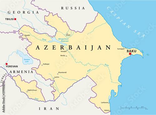 Baku Aserbaidschan Karte.Azerbaijan Political Map With Capital Baku National Borders