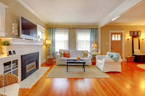 Fotografia  Beautiful white, blue and beige living room.