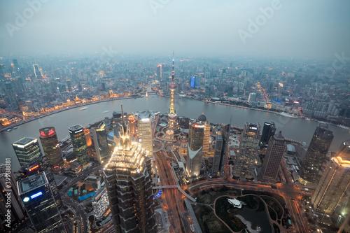 Foto op Aluminium Shanghai bird's eye view shanghai at dusk