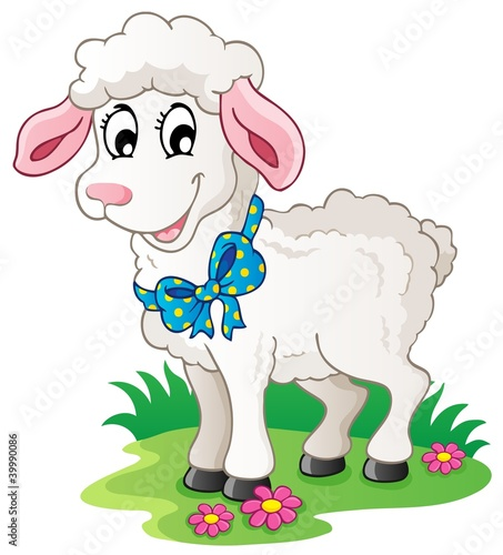Spoed Foto op Canvas Boerderij Cute cartoon lamb