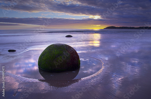 Moeraki Boulders at sun rise Wallpaper Mural