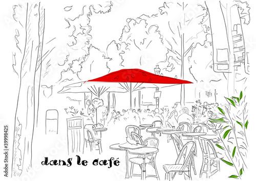 Foto auf AluDibond Gezeichnet Straßenkaffee Cafe on the Champs-Elysees 2.