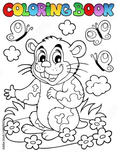 Tuinposter Doe het zelf Coloring book with cartoon hamster
