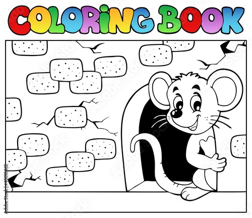 Tuinposter Doe het zelf Coloring book with mouse 3