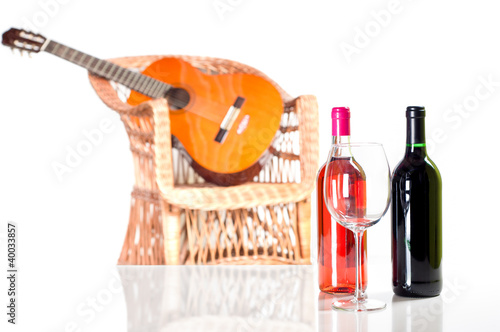 Foto op Plexiglas Bar Rose and red wine bottle more a glass