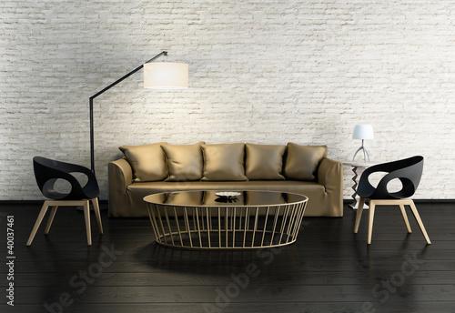 Papiers peints Retro Contemporary village interior, gold sofa, white stone wall