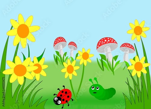 Foto op Plexiglas Lieveheersbeestjes Flowers, mushrooms, a ladybug and a caterpillar.