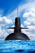 Nuclear Submarine In The Ocean.